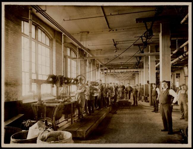 Color shop, dye kettles, looking westerly. Print building, 1st. floor