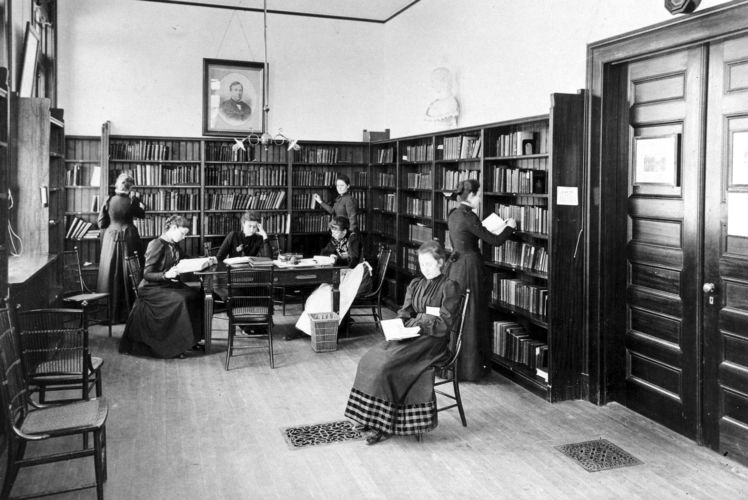 The Library, May Hall, c.1890