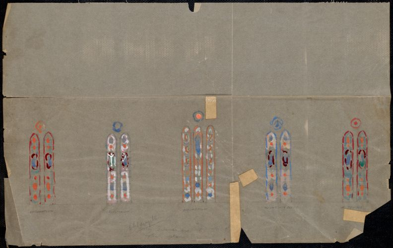 Coronation, crucifixion, Assumption, flight into Egypt, in temple - S. E. Hampton.