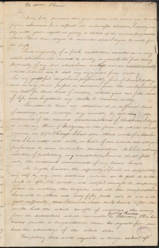 Hannah Adams autograph letter signed to William Shaw