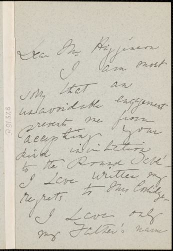 Helen Olcott Choate Bell autograph letter signed to Thomas Wentworth Higginson, [Boston]