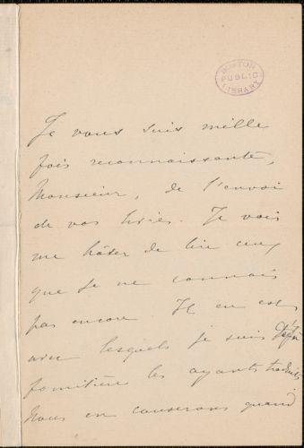 Marie Therese (de Solms) Blanc autograph note signed to Thomas Wentworth Higginson, 2 December