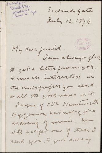 Barbara Leigh Smith Bodichon autograph letter signed to Thomas Wentworth Higginson, [London], 13 July 1879