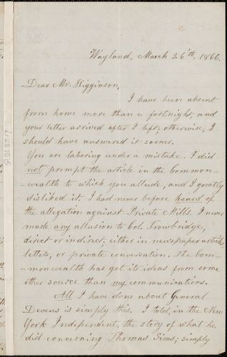 Lydia Maria Child autograph letter signed to Thomas Wentworth Higginson, Wayland, Mass., 26 March 1866