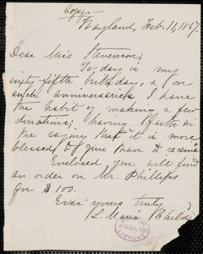 Lydia Maria Child autograph note signed to Miss Stevenson, Wayland, Mass., 11 February 1867