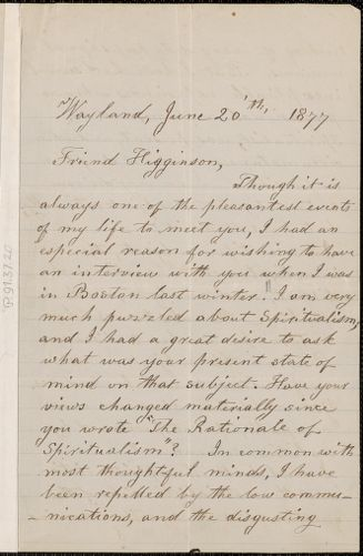Lydia Maria Child autograph letter signed to Thomas Wentworth Higginson, Wayland, Mass., 20 June 1877