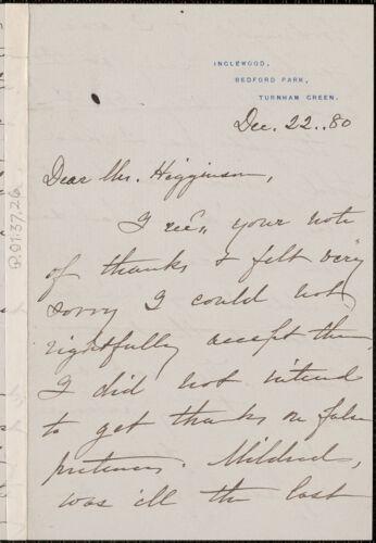 Ellen (Dana) Conway autograph letter signed to Thomas Wentworth Higginson, Turnham Green, England, 22 December 1880