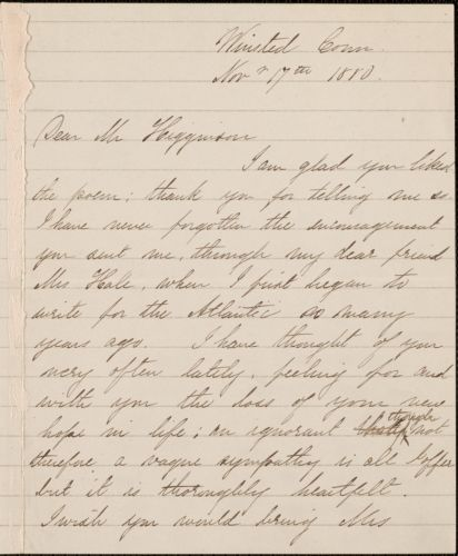 Rose Terry Cooke autograph note signed to Thomas Wentworth Higginson, Winsted, Conn., 17 November 1880