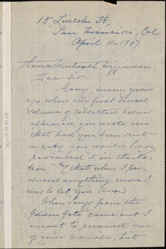 Ina D. Coolbrith autograph letter signed to Thomas Wentworth Higginson, San Francisco, 11 April 1907