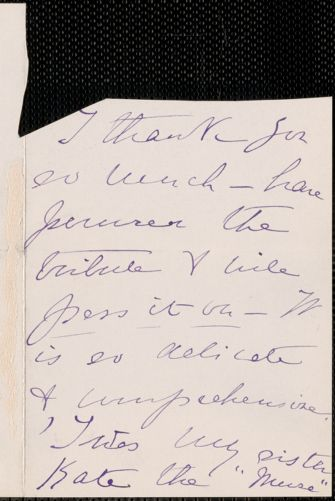 Julie Grinnell (Storrow) Cruger autograph note signed to [Thomas Wentworth Higginson], [New York?]