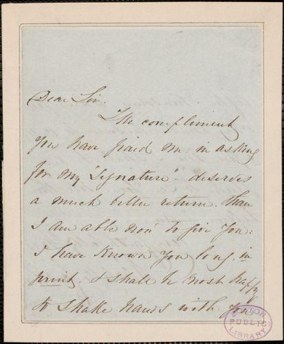 Charlotte Cushman signed autograph note, [London]