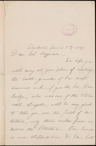 Danske Dandridge autograph letter signed to Thomas Wentworth Higginson, Charleston, SC., 23 January 1891
