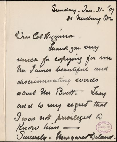 Margaret Deland autograph note signed to Thomas Wentworth Higginson, Boston, 31 January 1909