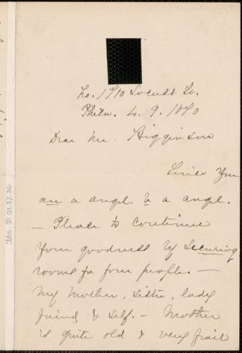 Anna E. Dickinson autograph letter signed to Thomas Wentworth Higginson, Philadelphia, 9 March 1870?