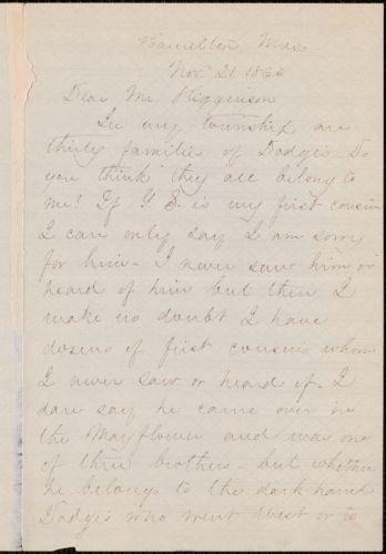Mary Abigail Dodge autograph letter signed to Thomas Wentworth Higginson, Hamilton, Mass., 21 November 1866
