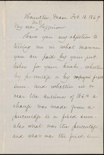 Mary Abigail Dodge autograph note signed to Thomas Wentworth Higginson, Hamilton, Mass., 12 February 1869
