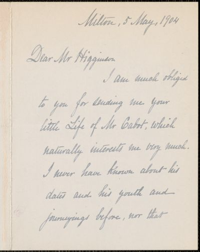 Ellen Tucker Emerson autograph note signed to Thomas Wentworth Higginson, Milton, Mass., 5 May 1904