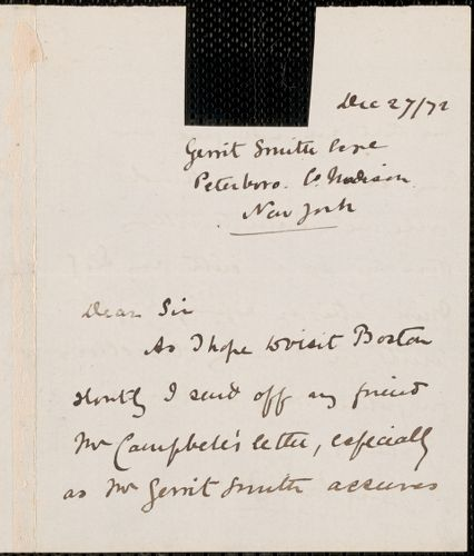 Emily Faithfull autograph letter signed to Thomas Wentworth Higginson, Peterboro, N.H., 27 December 1872