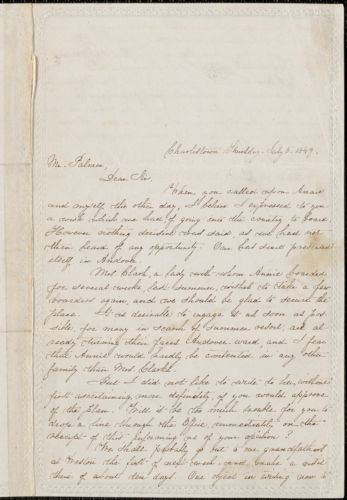 Helen M. Fiske autograph letter signed to Julius A. Palmer, Charlestown, Mass., 5 July 1849