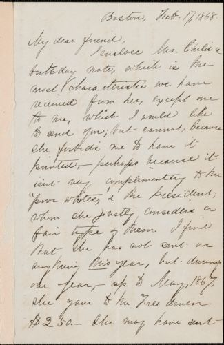 Charlotte L. Forten autograph letter signed to [Thomas Wentworth Higginson], Boston, 17 February 1868