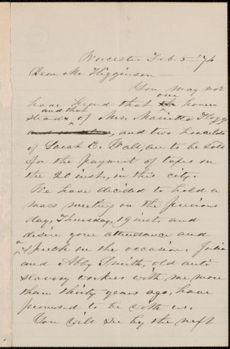 Abby Kelley Foster autograph letter signed to Thomas Wentworth Higginson, Worcester, Massachusetts, 5 February 1876