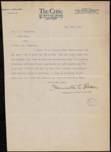 Jeannette L. Gilder typed note signed to Thomas Wentworth Higginson, New York, 28 January 1902