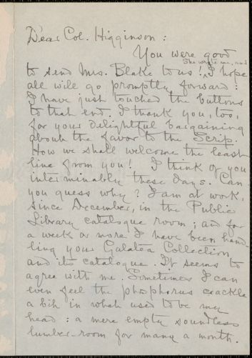 Louise Imogen Guiney autograph letter signed to Thomas Wentworth Higginson, Auburndale, Mass., 1 March 1899