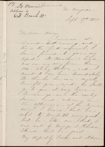 Sophia Peabody Hawthorne autograph letter signed to Mary [Elizabeth (Channing) Higginson], Concord, Mass., 17 September 1865