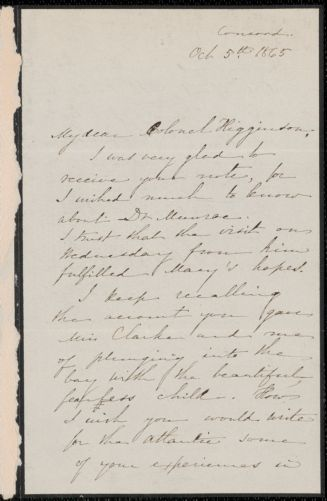 Sophia Peabody Hawthorne autograph letter signed to Thomas Wentworth Higginson, Concord, Mass., 5 October 1865