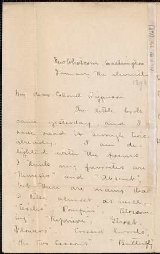 Ella Higginson autograph letter signed to Thomas Wentworth Higginson, 11 January 1898