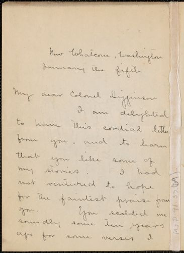 Ella Higginson autograph letter signed to Thomas Wentworth Higginson, Washington, 5 January