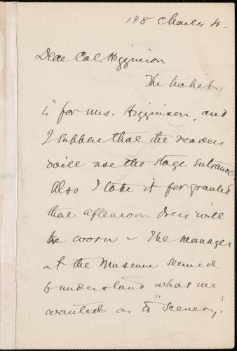 Sarah Orne Jewett autograph letter signed to Thomas Wentworth Higginson, [Boston]
