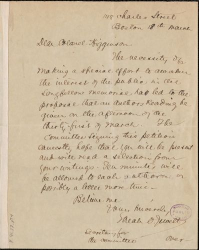 Sarah Orne Jewett autograph note signed to Thomas Wentworth Higginson, Boston, 18 March
