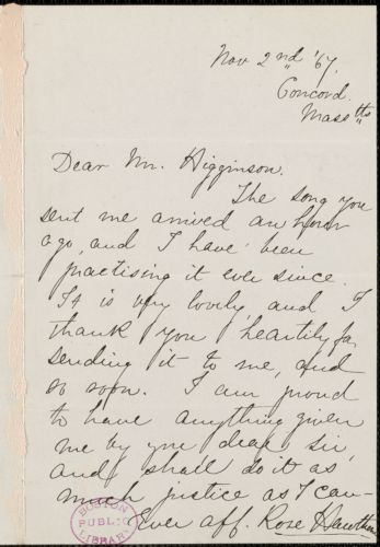 Rose Hawthorne Lathrop autograph note signed to Thomas Wentworth Higginson, Concord, Mass., 2 November 1867