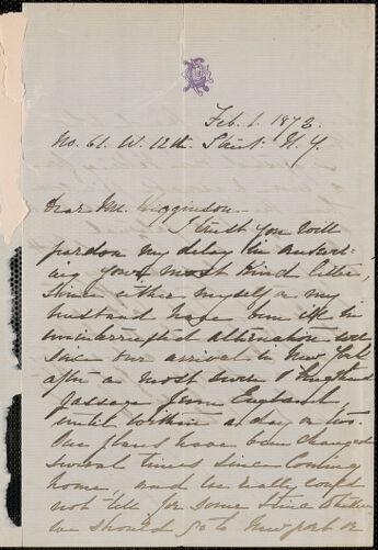 Rose Hawthorne Lathrop autograph letter signed to Thomas Wentworth Higginson, New York, 1 February 1872