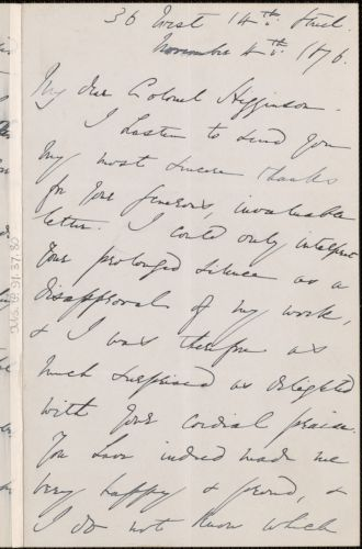 Emma Lazarus autograph letter signed to Thomas Wentworth Higginson, New York, 4 November 1876