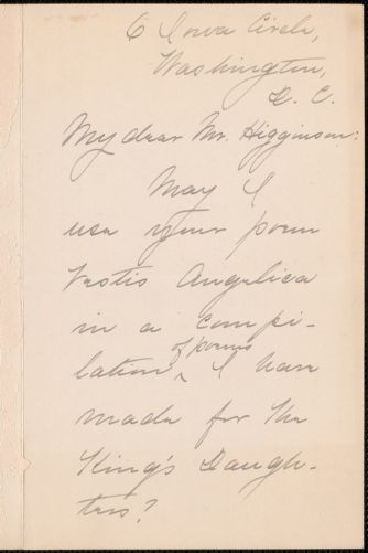 Florence P. Lea autograph note signed to Thomas Wentworth Higginson, Washington, DC, 26 January 1891