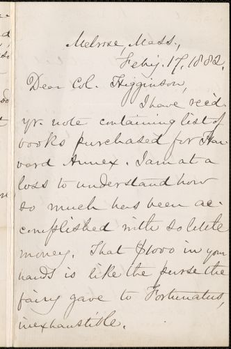 Mary Ashton Rice Livermore autograph letter signed to Thomas Wentworth Higginson, Melrose, Mass., 17 February 1882