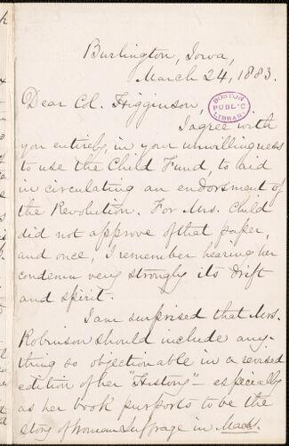Mary Ashton Rice Livermore autograph letter signed to Thomas Wentworth Higginson, Burlington, Iowa, 24 March 1883
