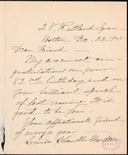 Louise Chandler Moulton autograph note signed to [Thomas Wentworth Higginson], Boston, 22 December 1905