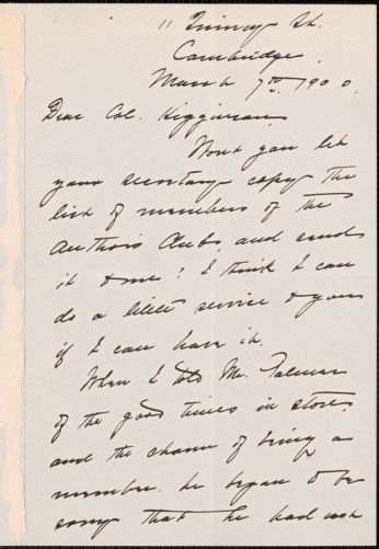 Alice Freeman Palmer autograph letter signed to Thomas Wentworth Higginson, Cambridge, Massachusetts, 7 May 1900