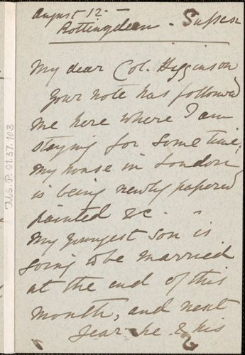 Juliet Creed Pollock autograph letter signed to Thomas Wentworth Higginson, Rottingdean, Sussex, England, 12 August