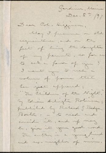 Laura Elizabeth Howe Richards autograph letter signed to Thomas Wentworth Higginson, Gardiner, Maine, 8 December 1897
