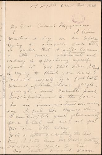 Viola Roseboro' autograph letter signed to Thomas Wentworth Higginson, New York, 15 March 1890