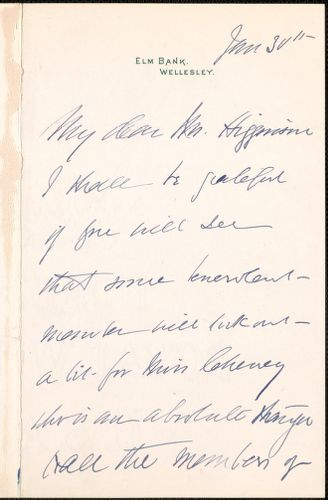 Kate Sanborn autograph letter signed to Thomas Wentworth Higginson, Wellesley, Mass., 30 January