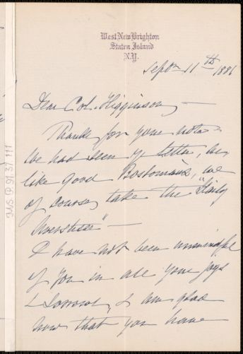 Sarah B. Shaw autograph letter signed to Thomas Wentworth Higginson, West New Brighton, Staten Island, New York, 11 September 1881