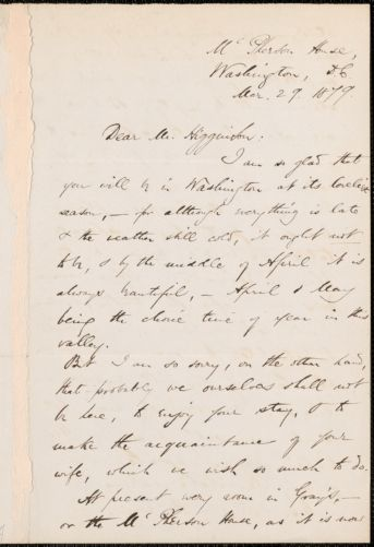 Harriet Elizabeth Prescott Spofford autograph letter signed to Thomas Wentworth Higginson, Washington, D.C., 29 March 1879