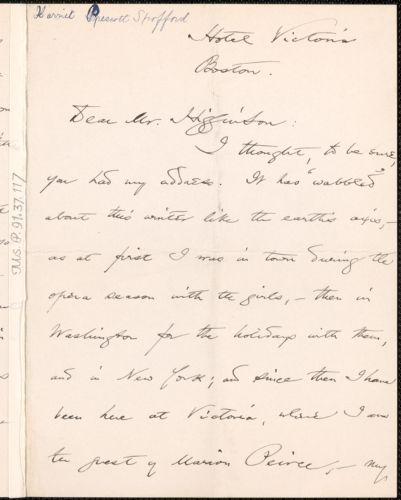 Harriet Elizabeth Prescott Spofford autograph letter signed to Thomas Wentworth Higginson, Boston