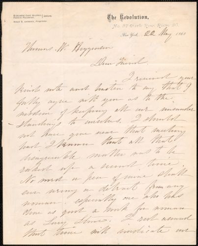 Elizabeth Cady Stanton autograph letter signed to Thomas Wentworth Higginson, New York, 22 May 1868