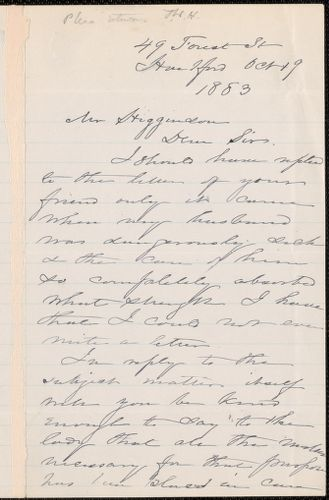 Harriet Beecher Stowe autograph letter signed to Thomas Wentworth Higginson, Hartford, Conn., 19 October 1883